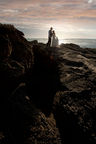 Melbourne Wedding Photographers folio image of a beach sunset wedding photo.