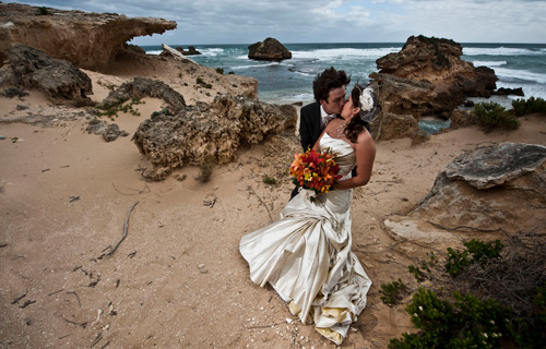 Wedding Photography Melbourne Ocean Beach on a Windy, Stormy Day in April.