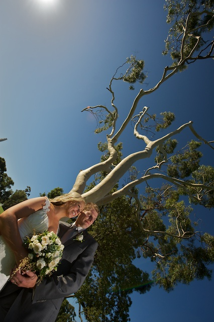 Wedding Photography Melbourne, with creative style applied to this portrait of newlyweds taken in natural bushland at Cranbourne Golf Club.