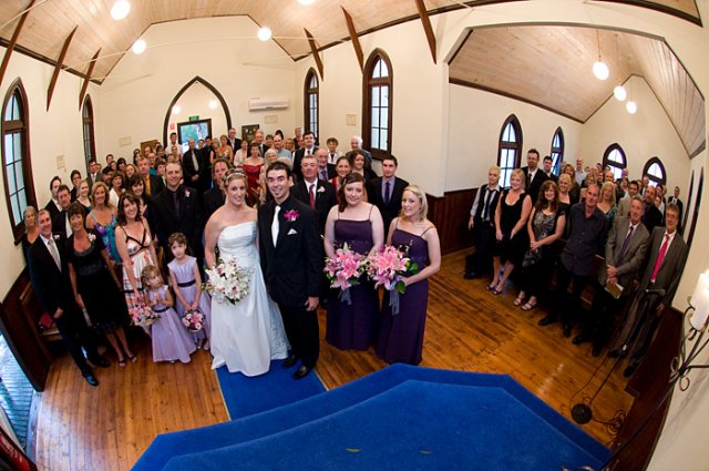 Melbourne Wedding Photographers photo of the entire congregation at Whitechapel receptions