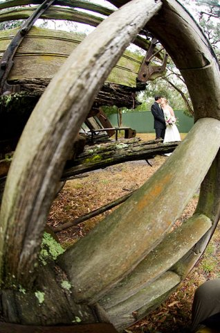 Wedding Photography showing a rustic photo using a wagon wheel as a frame within the compolsition.