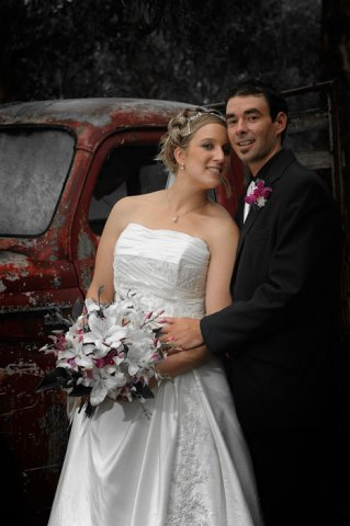 Wedding Photography with an old truck as the backdrop.