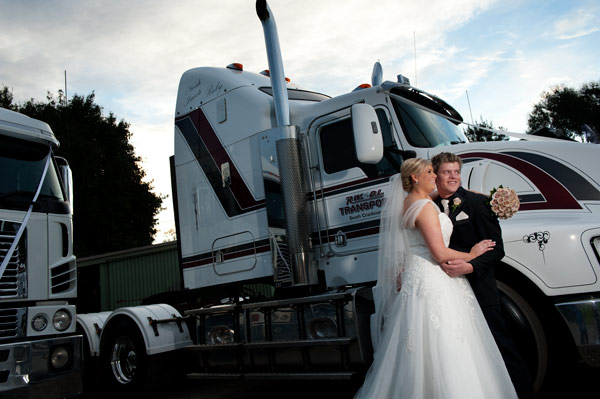 A Kenworth truck is the bridal transport for this couple from Melbourne.