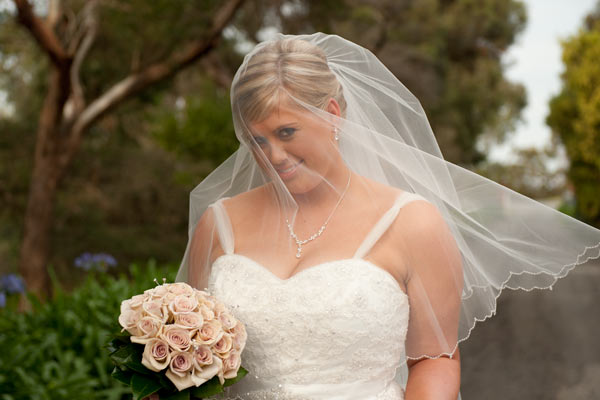 Wedding portrait photography of a bride at Warrook Cattle Farm.