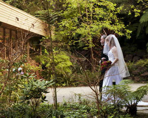 A bride and her dad walk down the aisle at Lyrebird Falls