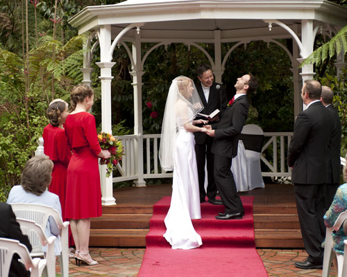 The groom laughs during the wedding ceremony at Lyrebird Falls receptions.
