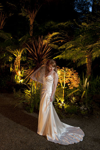 A photo of a bride at Twilight, after her Lyrebird Falls wedding.