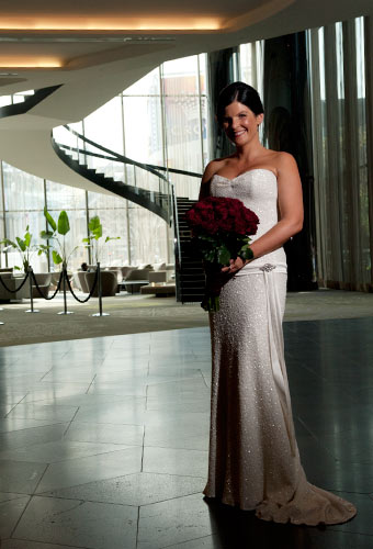 Pre wedding ceremony portrait of a Melbourne bride at Crown metropol hotel.