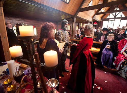 Ceremonial marriage celebrant performing a medieval wedding, at Kryal Castle Ballarat.