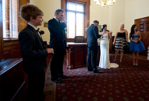 Wedding Photography showing the bridal party at a Melbourne Registry Office Ceremony.