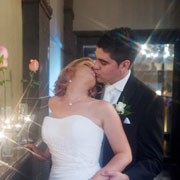 Ambient light provides the illumination for this wedding portrait taken in a Melbourne bar.