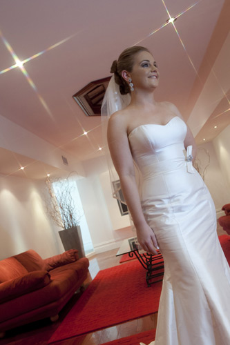 A cross-screen photo of a bride at Potters Reception Warrandyte