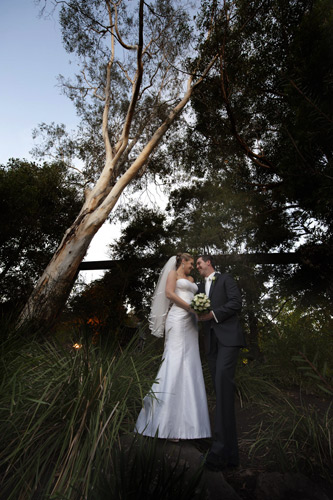 Bride and Groom beneath a tall tree outside Potters Reception