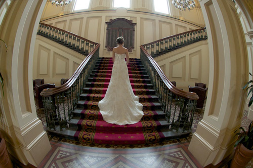 A bride grand staircase of an old hotel in Melbourne