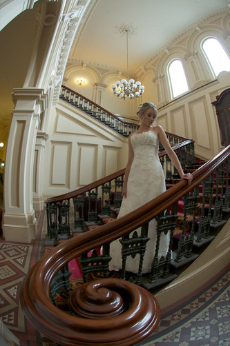 A bride on the stairs in an old Melbourne pub