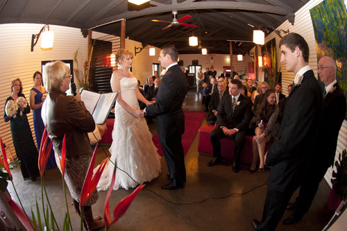 Bridal couple exchanging vows at All Smiles Warrandyte