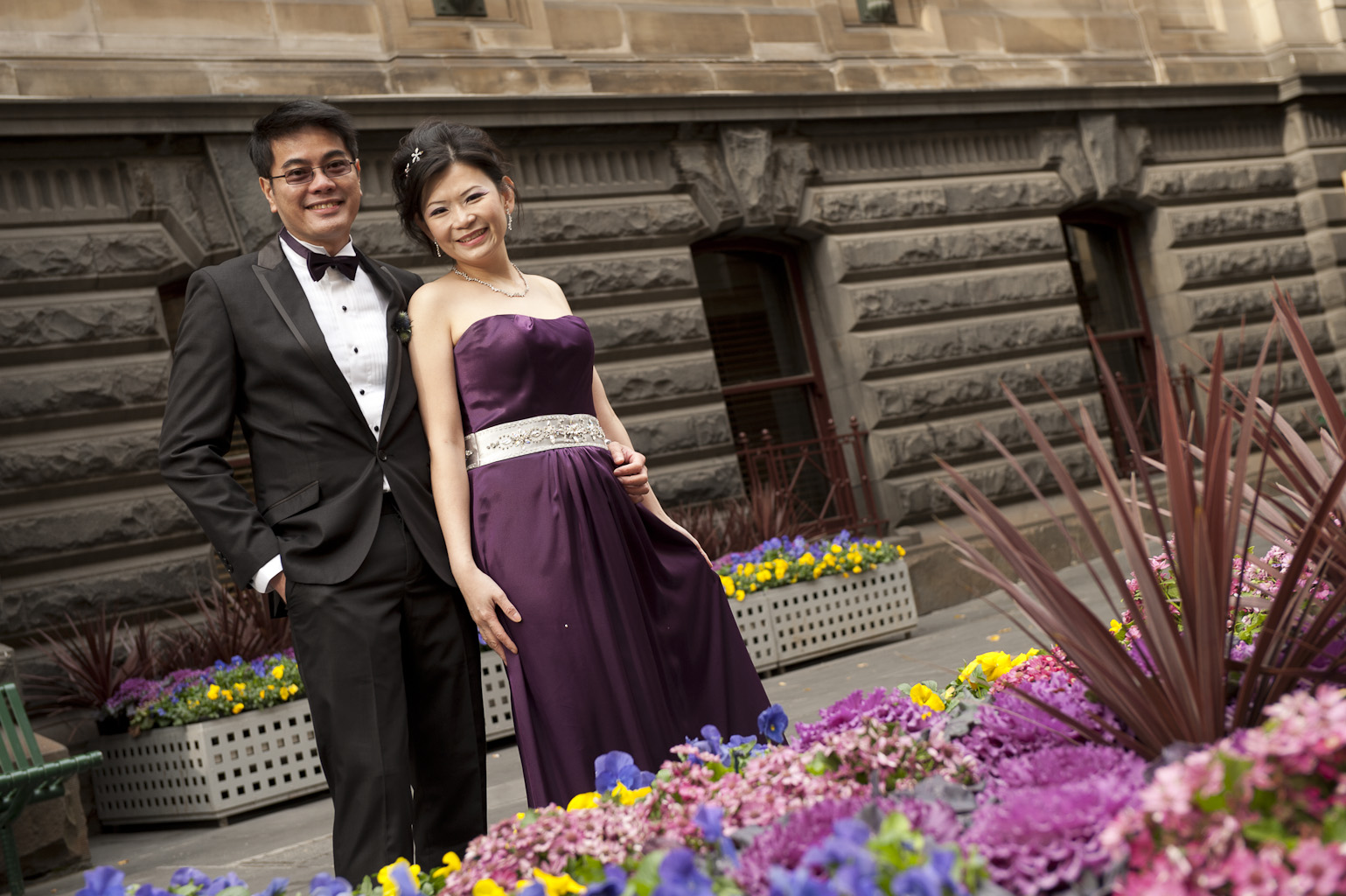 wedding couple outside melbourne town hall