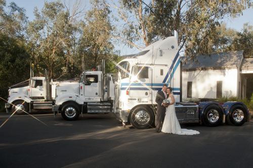newlyweds and truck wedding