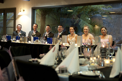 bridal party seated at main table, potters wedding