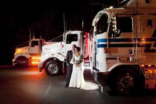 night wedding photography showing kenworth trucks at potters warrandyte