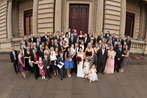 photo of complete melbourne wedding congregation, parliament house steps