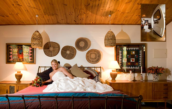 bride in african style bedroom before wedding