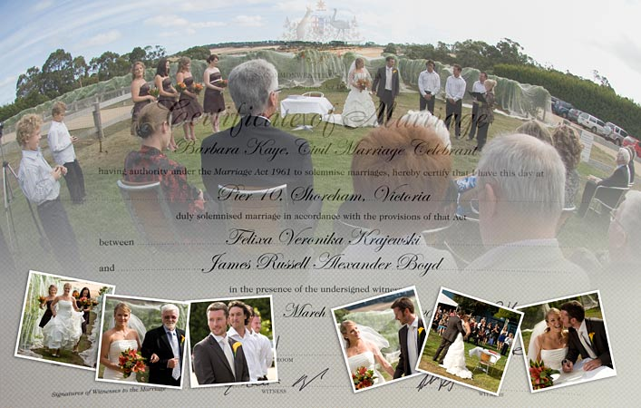 artistic collage with wedding certificate