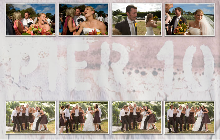 photography collage of candid wedding images, pier 10 winery