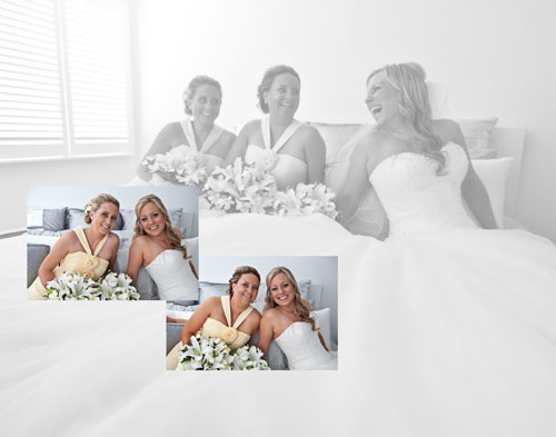 Bridesmaids and bride together on bed before wedding