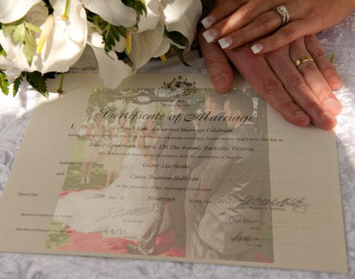 Treacy centre wedding certificate montage
