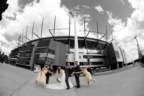 Wedding photo at Melbourne Cricket Ground