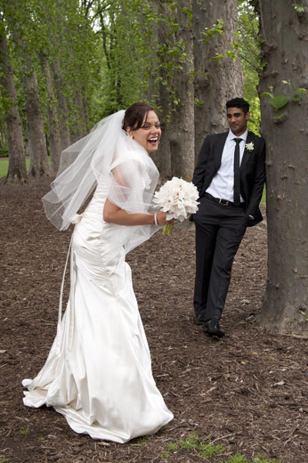 bride laughing back to camera