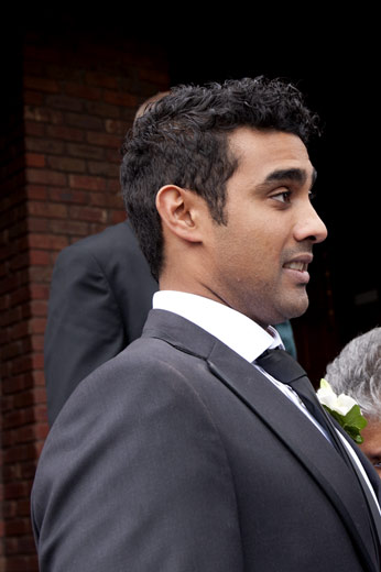 Groom has surprised look on his face after wedding